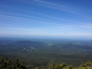 The view from the ridge, looking west back over to the Adirondacks of New York. Up here, I can see the world.