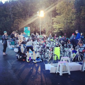 Preparing the transition area as the sun comes up at 7am.