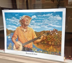 A Pete Seeger 'Beacon of Hope' tribute in almost every shop window in Beacon.