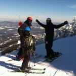 Now: Father and Sons, 18 and 9, on top of Lincoln Peak at Sugarbush, Feb 2014.