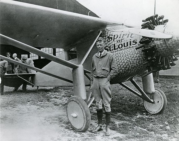 Charles Lindbergh alongside the Spirit of St. Louis. Note the lack of forward visibility.