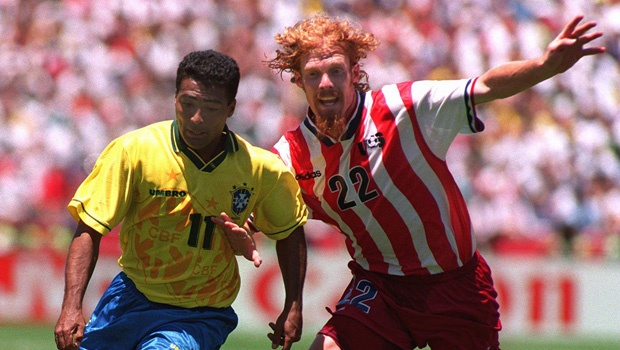Alexei Lalas as he never dared imagine: defending against Brazil's Romario in the 1994 World Cup in the USA - on July 4, no less.