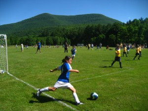 Football in the Catskills: the most popular participatory sport amongst young kids of both sexes.